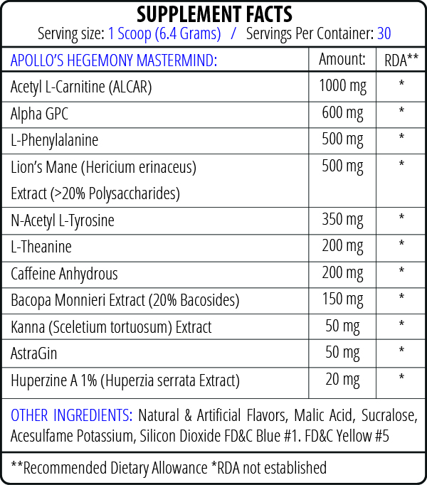 Apollo Hegemony Mastermind full ingredients list